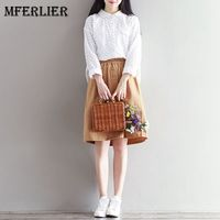 Mferlier Mori Girl Autumn Embroidered Floral Blouse White Ruffled Peter Pan Collar Long Sleeve Tunique Femme