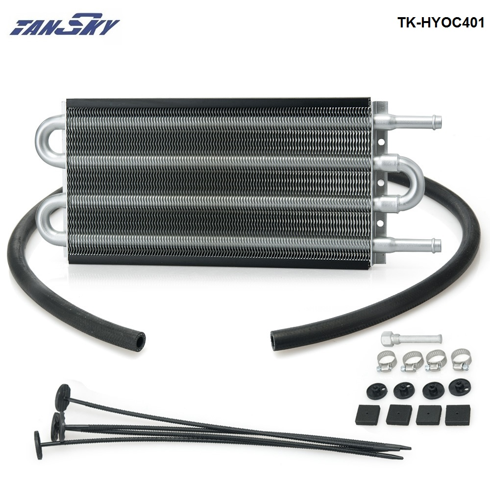 4 Row Black Aluminum Remote Transmission Oil Cooler/Auto-Manual Radiator Converter Kit TK-HYOC401 aluminum radiator for 1993 1995 mazd rx 7 fd3s manual transmission