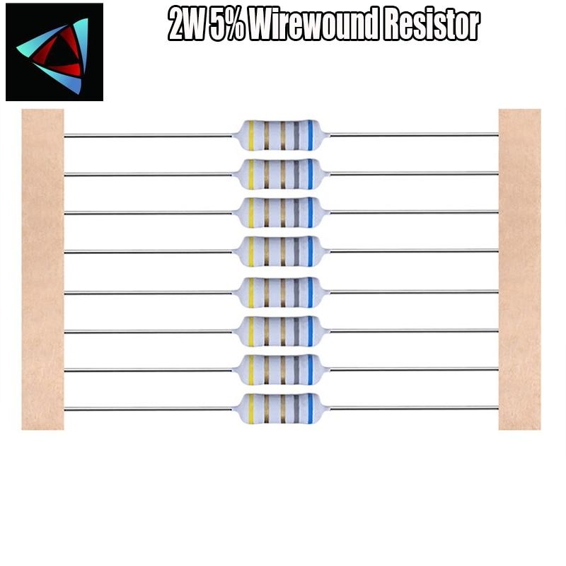 15pcs 2W 5%  Wirewound Resistor +-5%  0.1E 10E 100E 51E 22E 47E Ohm