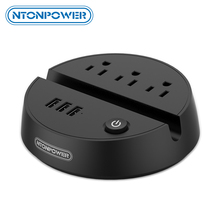 NTONPOWER ODY przenośny przedłużacz USB Travel US gniazdo do wtyczki elektrycznej 3 gniazda AC 3 Port ładowania USB z uchwytem na telefon