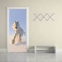 Pentium Horse Posted Wooden Renovation Bedroom Creative Self Adhesive Decorative Waterproof 3D Door Wall Sticker