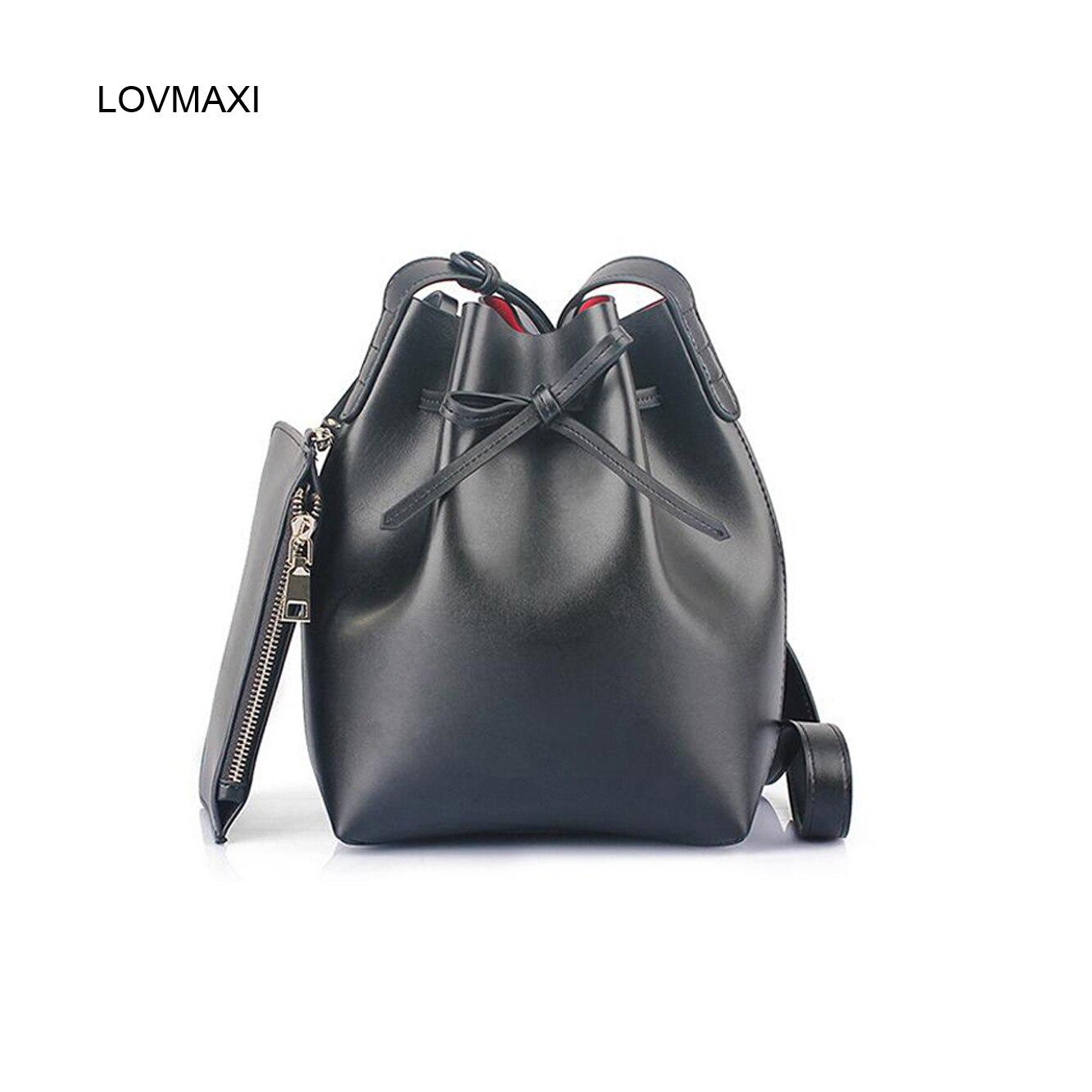 ФОТО Fashion female shoulder bags bow messenger bags women's genuine leather handbag bucket lady 2017 new