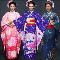 3 color Kimono Yukata Haori With Obi Novelty Party Dress performance dance costumes with Accessories One Size