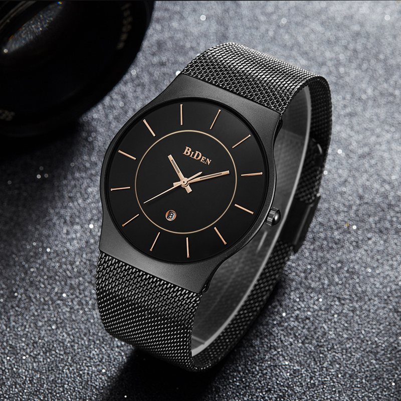 2017 Top Brand Luxury Men Watch Black Gold Quartz Clock Stainless Steel Business Male Female Wrist Watches Relogio Masculino eutour luxury brand men stainless steel gold watch men s quartz clock man sports magnetic force wrist watches relogio masculino