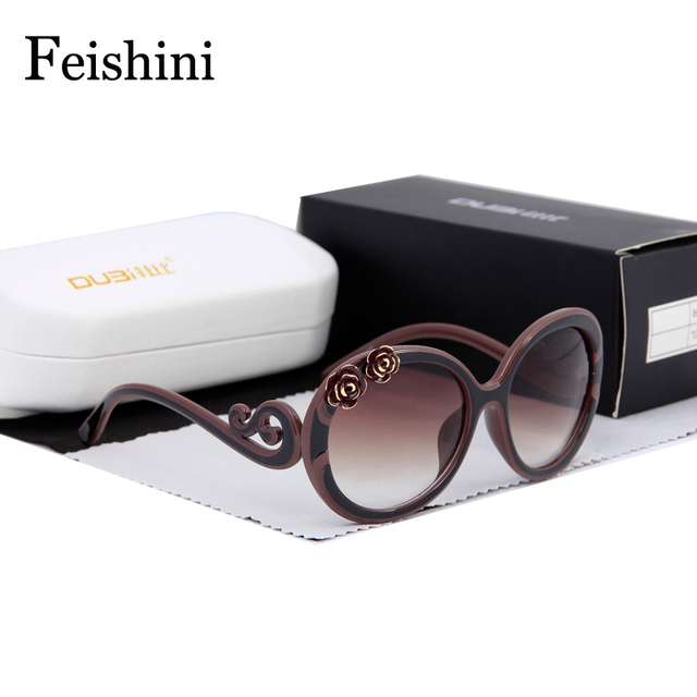 FEISHINI High Quality Shop Counters Sunglasses Women Brand Designer Luxury 3D Flower UV400 PC Gradient Lens Round Glasses