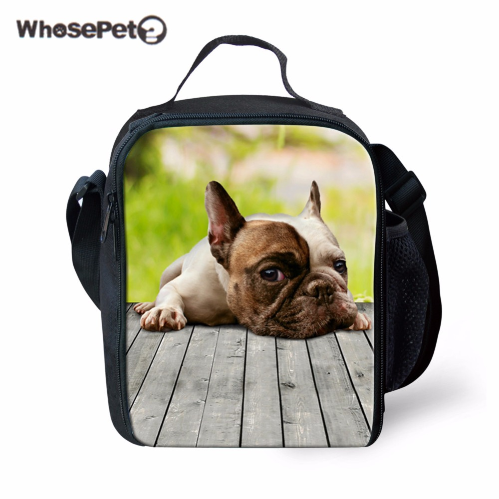 WHOSEPET Portable Insulated Food Bags for Boys Students Lunch Bags Tote Kids Spring Tour Picnic Bags 3D Lovely Dogs Printing New