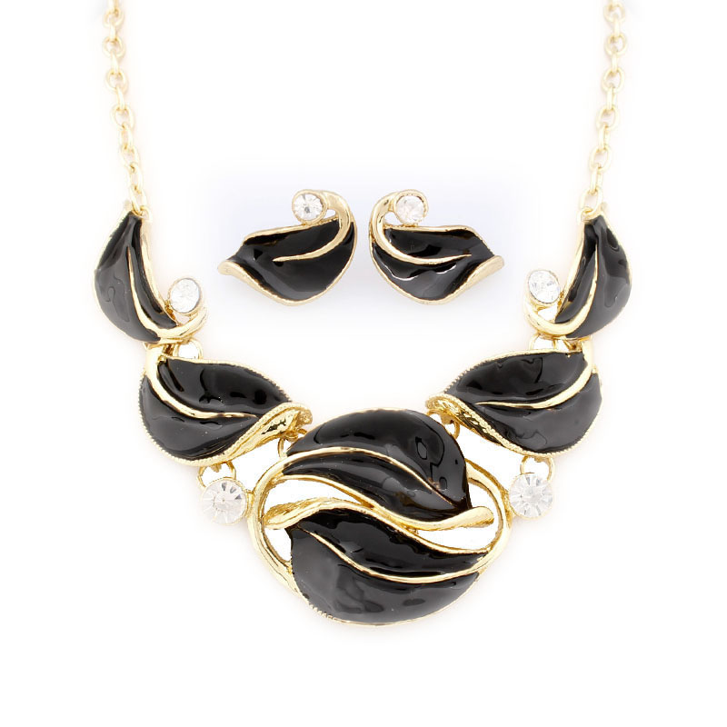 2018 Fashion Leaves 6 colors Jewelry Sets Enamel Jewelry statement Necklace And Earring Set Crystal Jewelry Set for women 102003