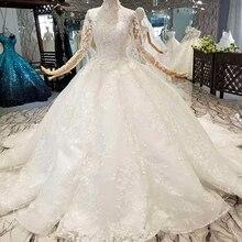 854141 Crystal Tassel Muslim Wedding Dresses Train Gowns
