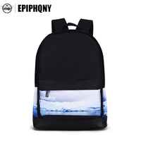 Fashion Black Daily Laptop Backpack For Women Landscape Pattern Printing Daypack Large Capacity Travel Canvas Rucksack