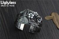 Uglyless реального S925 вулканизированной Тайский серебряные женские Ретро ювелирные изделия преувеличивать Этническая бабочка браслеты цвето
