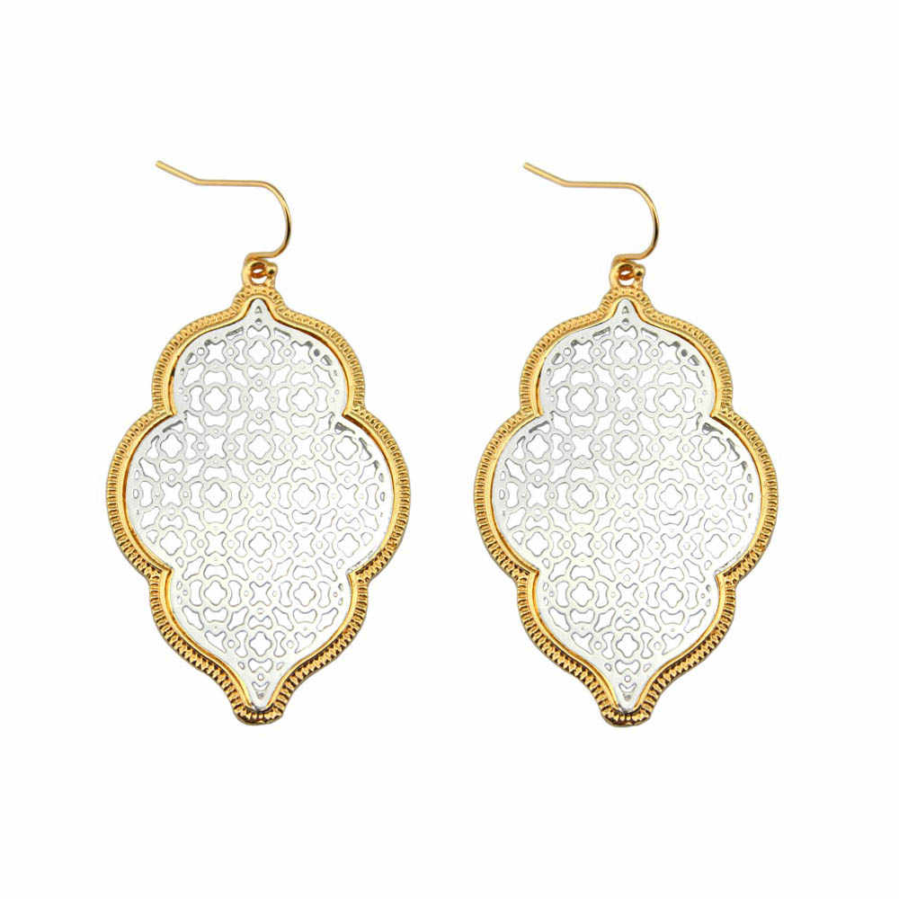 LET IT BE Two Tone Filigree Earrings for Women 2017 Trendy Large Geometric Morocco Dangle Earrings Jewelry Wholesale