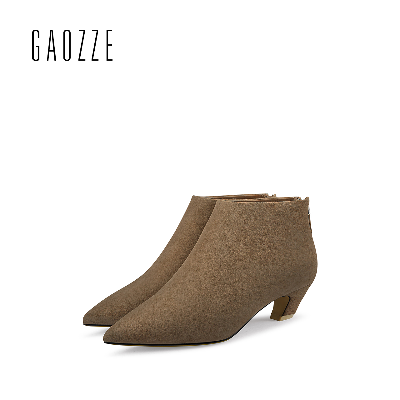 GAOZZE genuine suede leather zipper ankle boots 2018 new Fashion women block heel pointed toe ankle boots comfortable new arrival superstar genuine leather chelsea boots women round toe solid thick heel runway model nude zipper mid calf boots l63