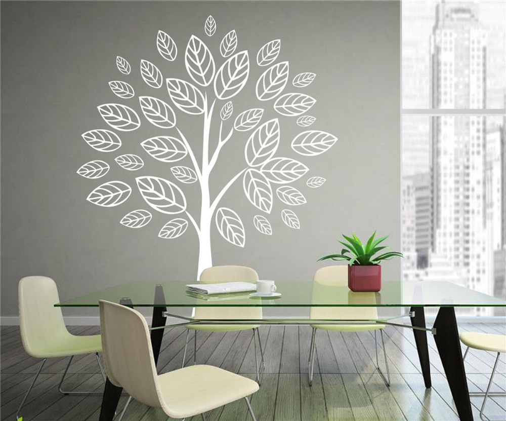 Tree wall decals large personalized family tree decal vinyl wall decal - 2017 New Personalized White Tree Vinyl Decal Wall Sticker Art Mural Room Nursery Decor Home Decoration