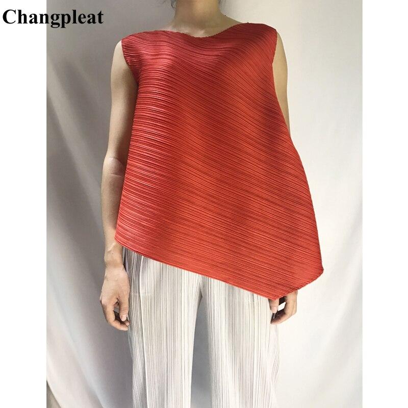 Changpleat 2019 ฤดูร้อนใหม่หลวมหลวมผู้หญิงเสื้อยืด Tops Miyak แฟชั่นจีบไม่สม่ำเสมอแขนกุดหญิงเสื้อยืด-ใน เสื้อยืด จาก เสื้อผ้าสตรี บน   1
