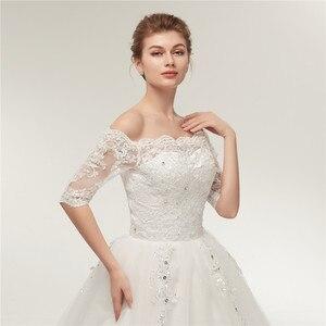 Image 5 - Женское свадебное платье со шлейфом Fansmile, винтажное кружевное платье из фатина с длинным рукавом, модель 2020