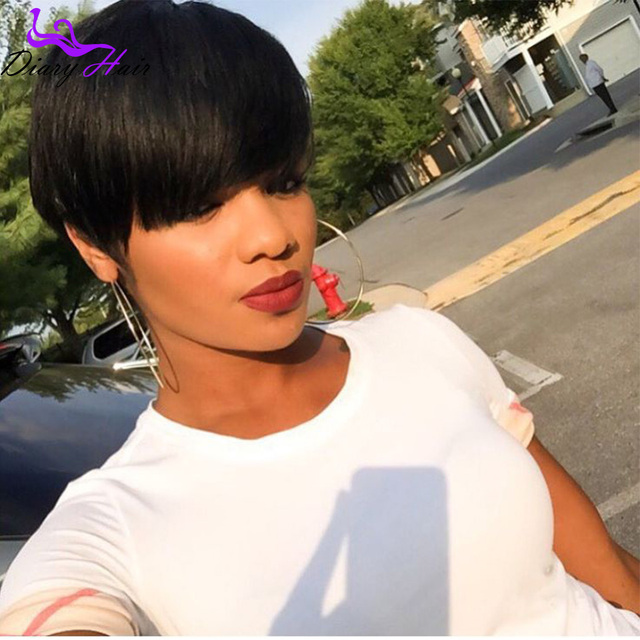 Indian Straight Short Human Hair Wigs No Lace African American Bob