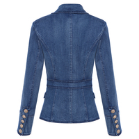 HIGH QUALITY New Fashion 2018 Designer Blazer Women's Metal Lion Buttons Double Breasted Denim Blazer Jacket Outer Coat 1