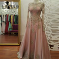 Frisado Do Laço Do Ouro Apliques Manga Comprida Muçulmano Vestido de Noite Longo Até O Chão a Arábia Saudita Festa Formal Vestido Rosa Prom