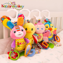 Happy Monkey Baby Plush Stuffed Animal Baby Bed Mobile Toys Rattle Teether Infant Bed Crib Hanging Toys for Children Kids Gift
