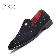 Plus Size 38-48 Men Suede Loafers Pointed Toe Driving Comfortable Rivet Decorated Slip On Flat Shoes Sapatos