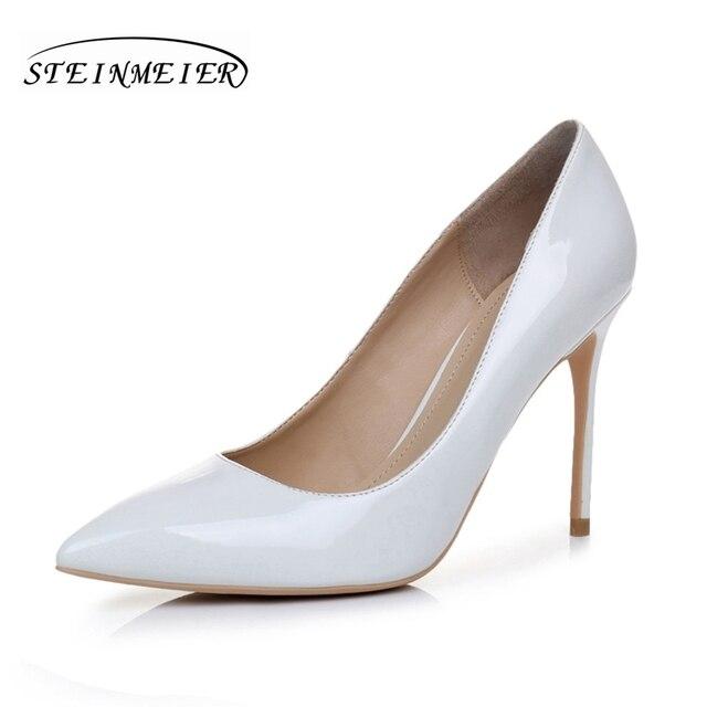 6250d6f1cbd497 Blanc 10 cm femmes talons hauts confortable élégant talon chaussures talon  mince point toe en cuir