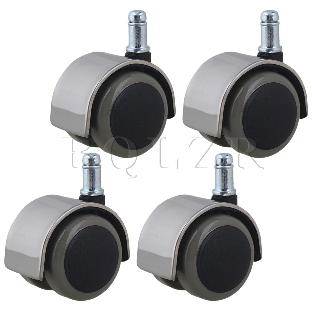 4pcs Stainless Steel PU BQLZR Office Chair Swivel Caster Wheels Grip Ring Stem fslh 10mm threaded stem 2 inch dia wheel chair swivel caster 5 pcs black