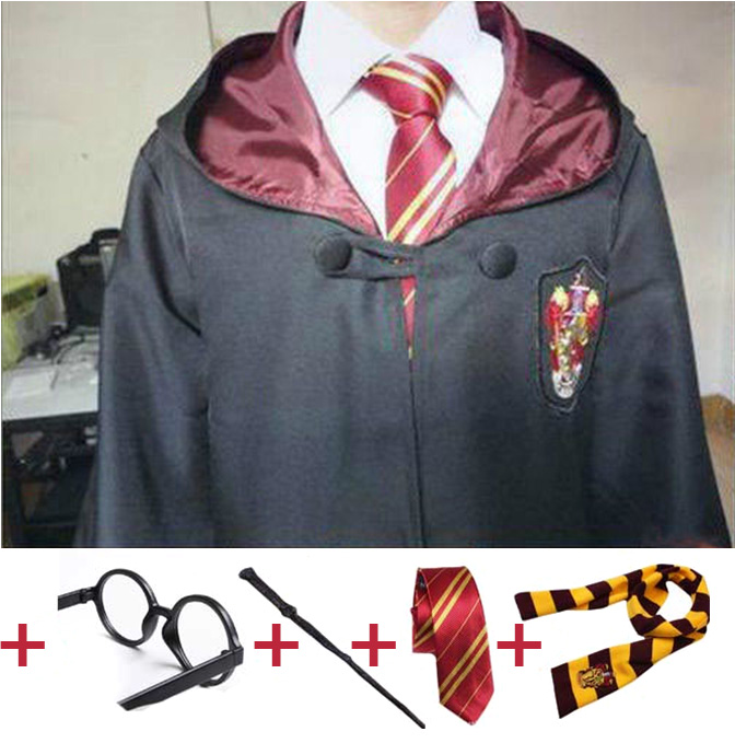 Cosplay Costume Robe Cloak With Tie Scarf Wand Glasses Ravenclaw Gryffindor Hufflepuff Slytherin For Adult Kids