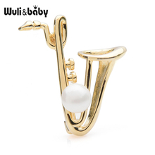 Wuli&baby Silver Gold Color Saxophone Brooches Women Men Alloy Instrument Personal Style Brooch Pins Gifts