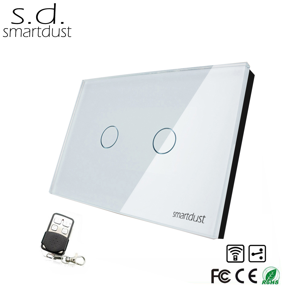 Smartdust US 2 Gang 2 Way RF Remote Smart Light Switch, Glass Panel Touch Wireless Control Interruptor Touch With Controller