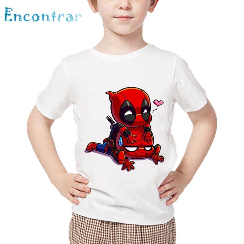 купить Cartoon Deadpool&Spiderman Superhero Printed Children Funny T shirt Baby Boys Girls Summer Tops Kids Cute Clothes,HKP2407 по цене 344.07 рублей