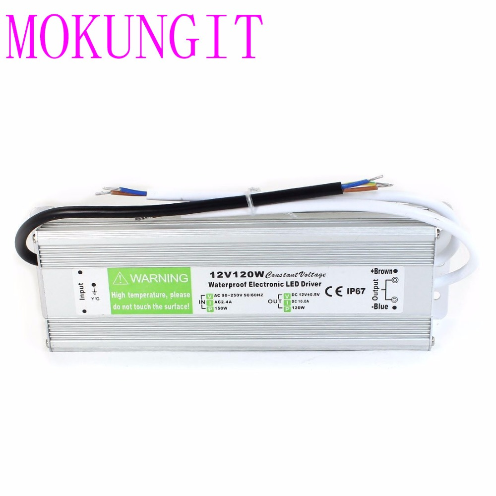 Fast shipping 3pcs Waterproof <font><b>12V</b></font> <font><b>120W</b></font> Power Adapter Power Supply for LED Lights LED <font><b>Electronic</b></font> <font><b>Transformer</b></font> Power Supply Driver image