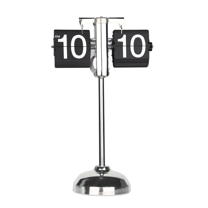 Creative Retro Auto Flip Clock Vintage Libra Page Turning Digital Table Clock Flip Flap Down Clocks Adjustable Stand Crafts