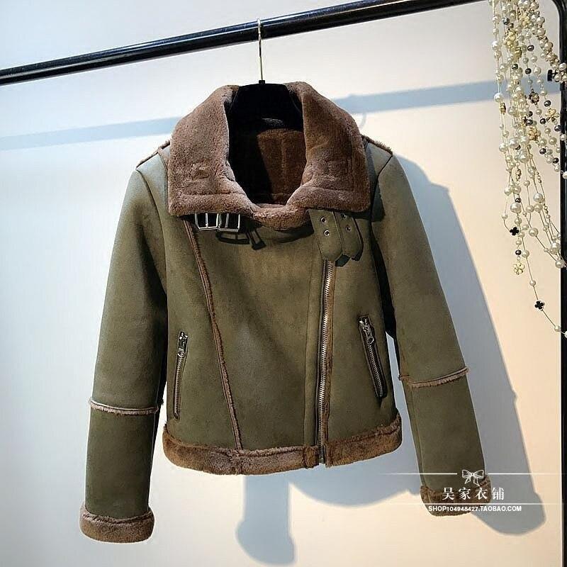 Veste Occasionnel Moto Femmes Chaud Green Faux Cuir De Army Zipper D'agneau Fourrure Épais 2019 Manteau D'hiver Suede En Nouveau Femme CtdhQrsx