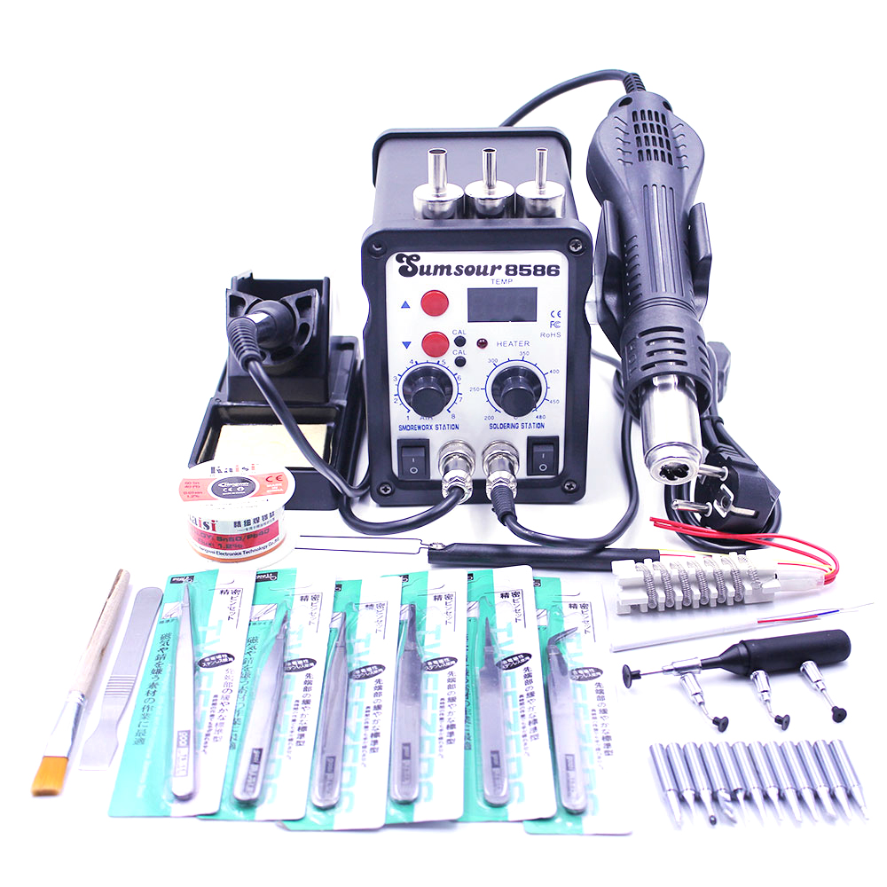 Soldering Station 8586 700W 2 in 1 Hot Air Gun Solder Iron BGA Rework Desoldering Station