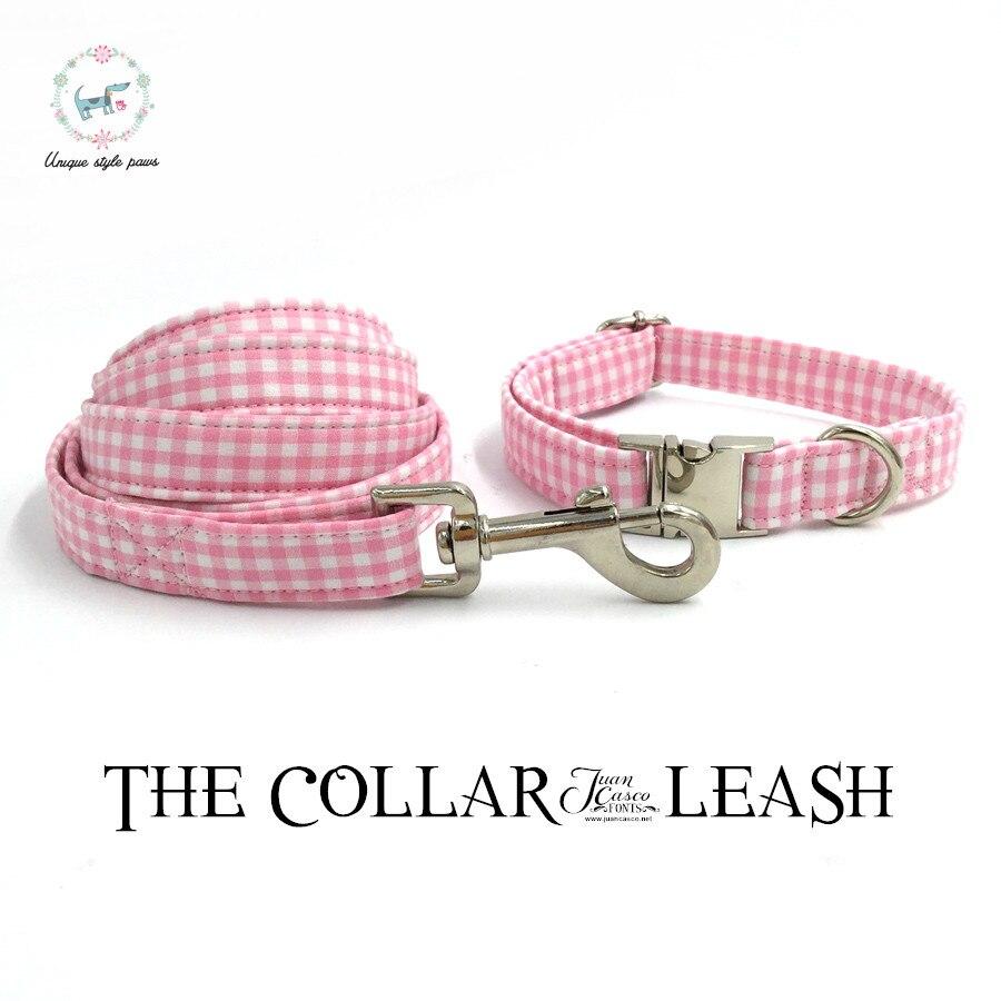 Rosa e bianco collare di cane e piombo personalizzato personal regolabile pet pupply 100% cotone cane regalo di compleanno
