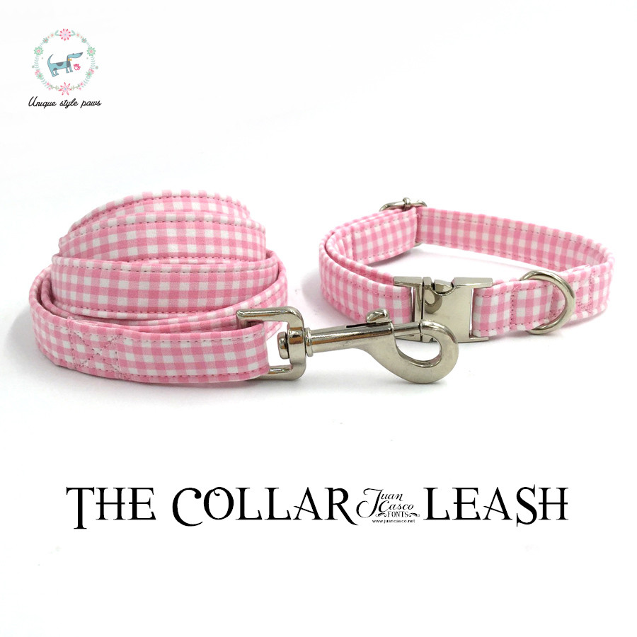 pink and white dog collar and lead personal custom adjustable pet pupply 100% cotton dog birthday gift