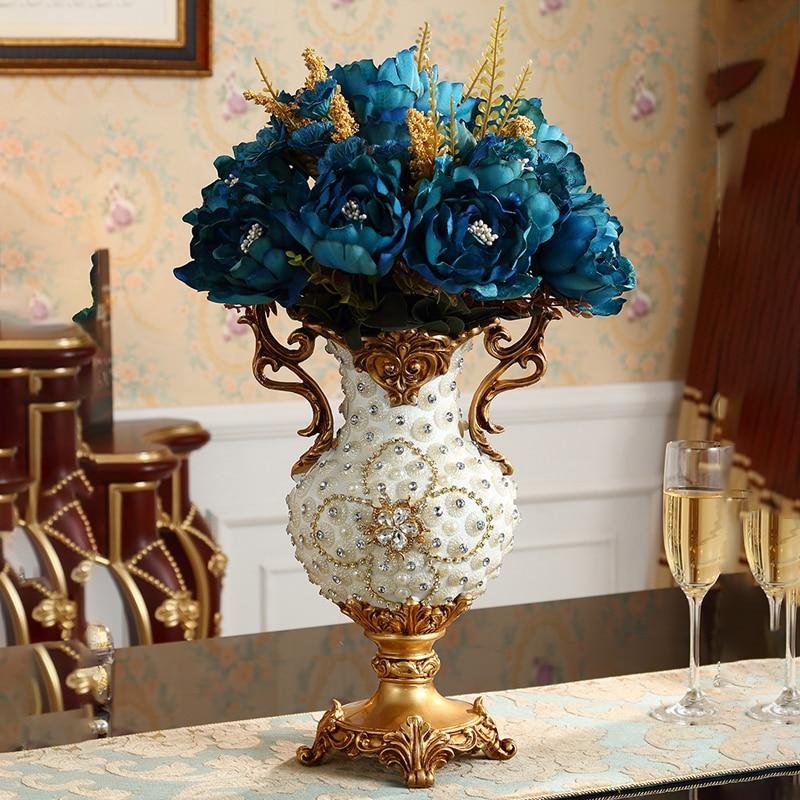 European Style Luxury Diamond Table Resin Vase Figurines Home Furnishing Decoration Craft Artificial Flower Arrangement Ornament