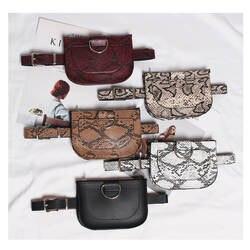 Для женщин поясная серпантин поясная сумка из искусственной кожи из талии сумка Famal Мода змеиной кожи пояс высокого качества Женский