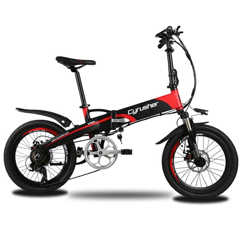 Cyrusher XF500 faltbare Fahrrad Falten Elektro-bike Full Suspension Ebike 250W 48V Bürstenlosen Motor 7 Geschwindigkeiten 16 Zoll reifen