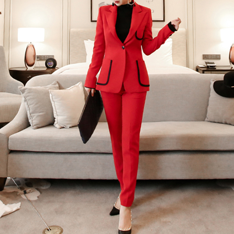 Fashion One Button Solid Women Pant Suit Notched Collar Hit Color Blazer Jacket And Pencil Pant OL Style 2 Pieces Set 2018