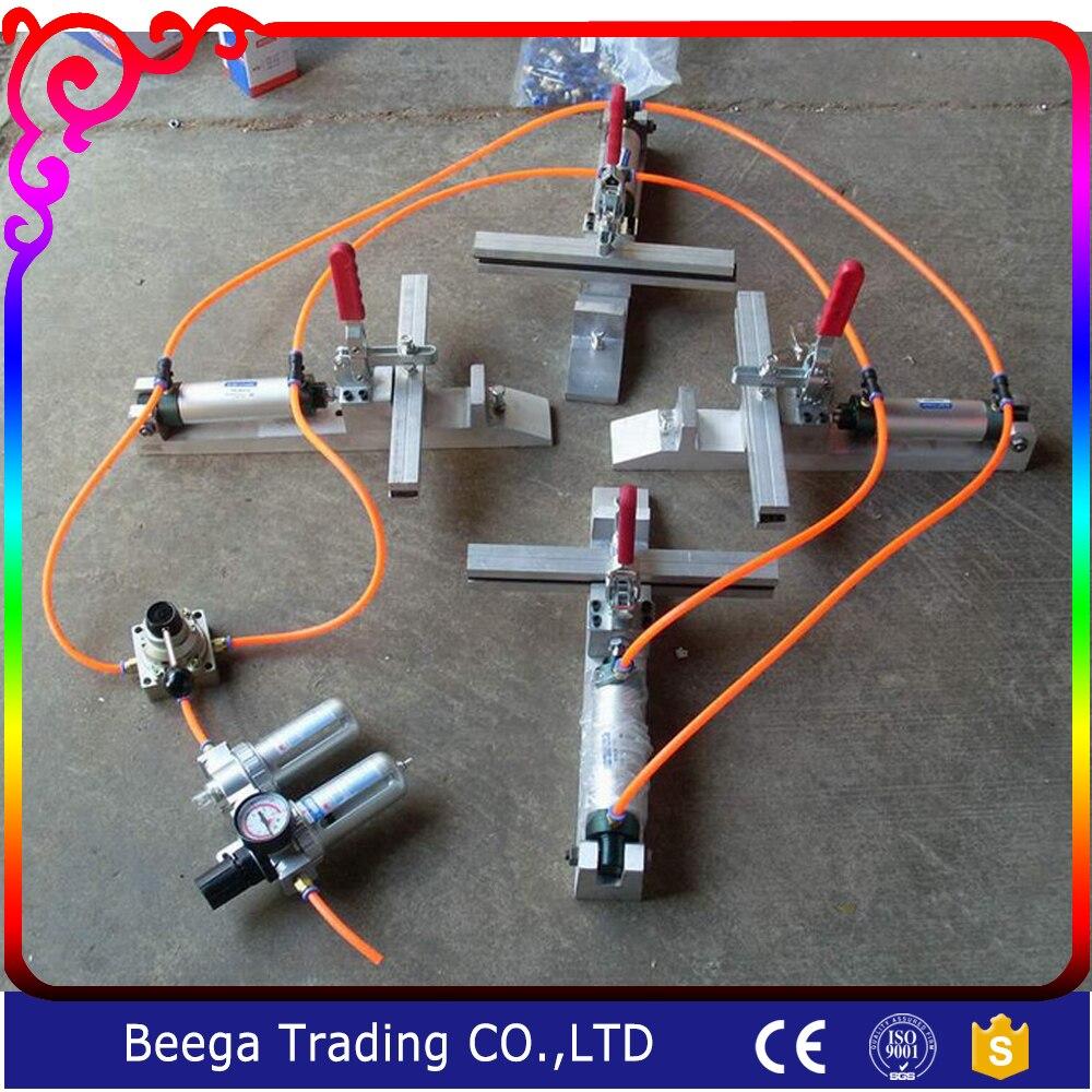Pneumatic Screen Stretching Machine 4#, Manual Clamp/Chuck Stretcher, L300*W300mm, Manufacture screen printing plate,Cast Steel
