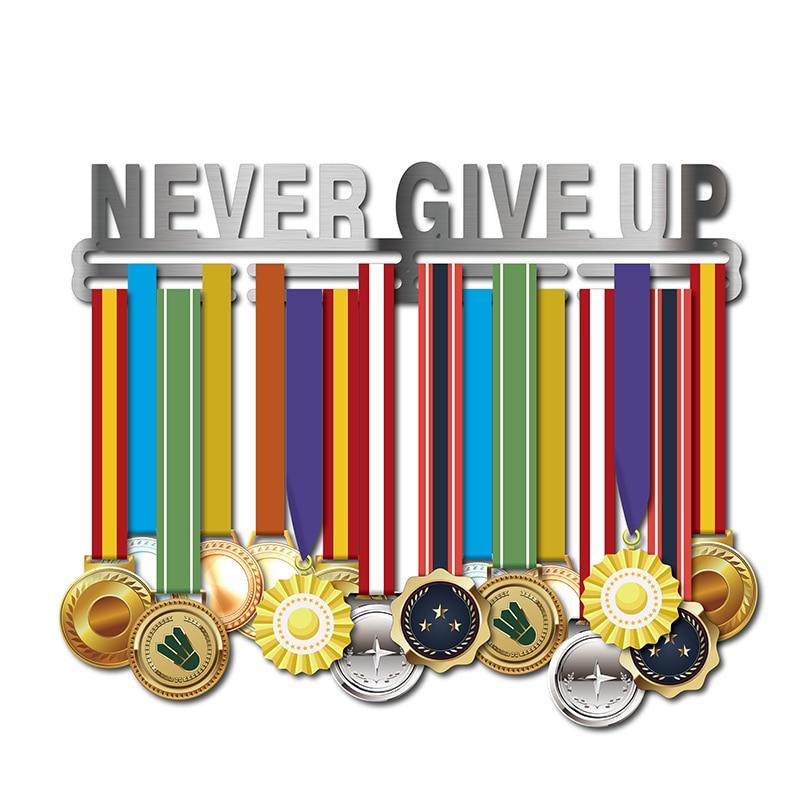 NEVER GIVE UP medal hanger Inspirational medal holder Sport medal display rack for 32 medals