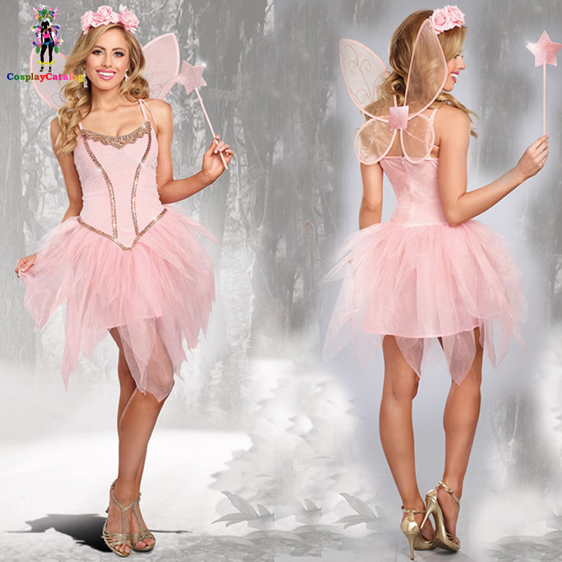 Rose Fairy Princess Costume Deluxe Cute Fairy Costumes Adult <font><b>Halloween</b></font> Party <font><b>Sexy</b></font> <font><b>Women</b></font> Pink Fairy Corset <font><b>Dresses</b></font> image