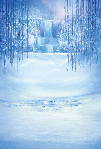 Custom vinyl cloth blue ice snow fairy land photography backdrops for newborn chidren stage photo studio portrait backgrounds