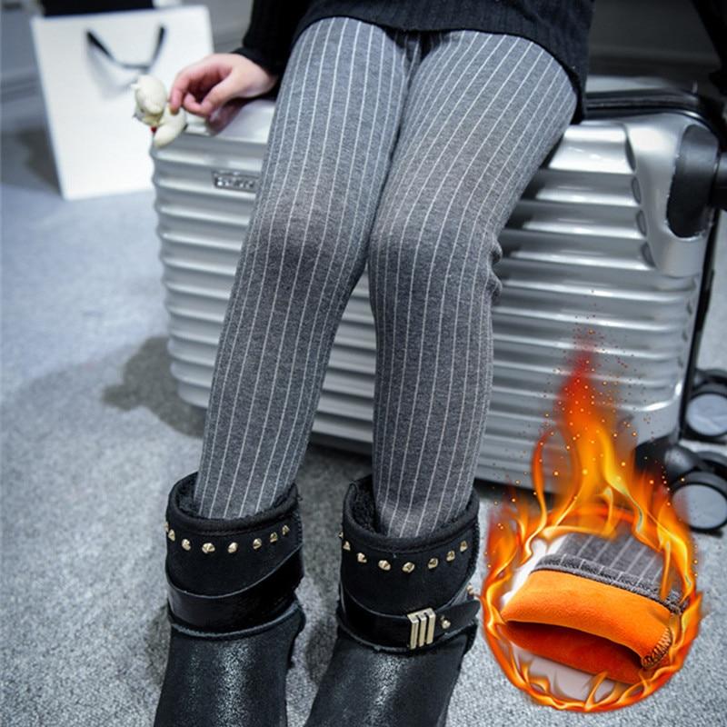4daf693e0611e Nouvelle Arrivée Bébé Enfants D hiver Filles Legging Mode Coton Épais  Doublé Enfants Vêtements Casual Velours Rayures Pantalon Chaud Pantalon