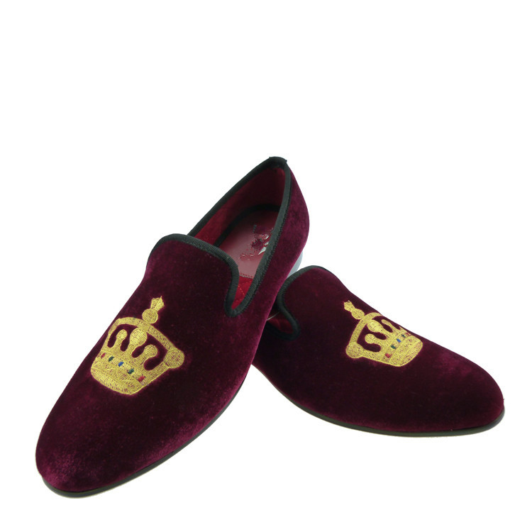 a58343e8d458ed party velvet shoes for men classic black crown loafer slippers US size 6-13  Free Shipping