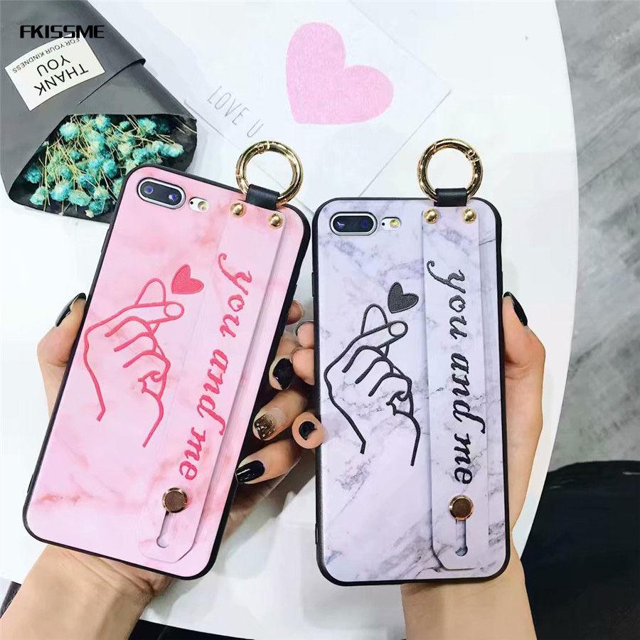 100 Pièces Luxe Tpu Gel De Silice Bracelet Coque De Téléphone Pour Iphone X 6 Plus Mignon Dessin Animé Amour Coeur Doux Coque Arrière Pour Iphone 8 7 Plus