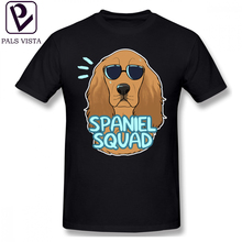 Cocker Spaniel T Shirt SPANIEL SQUAD Red T-Shirt Cute Short-Sleeve Tee Shirt Cotton Printed Streetwear Plus size Mens Tshirt все цены