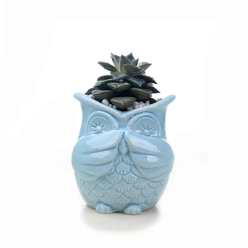 Sugan life 2019 новая керамическая сова цветочный горшок мини сова животное фарфор цветочное растение горшок для рабочего стола украшения дома сада