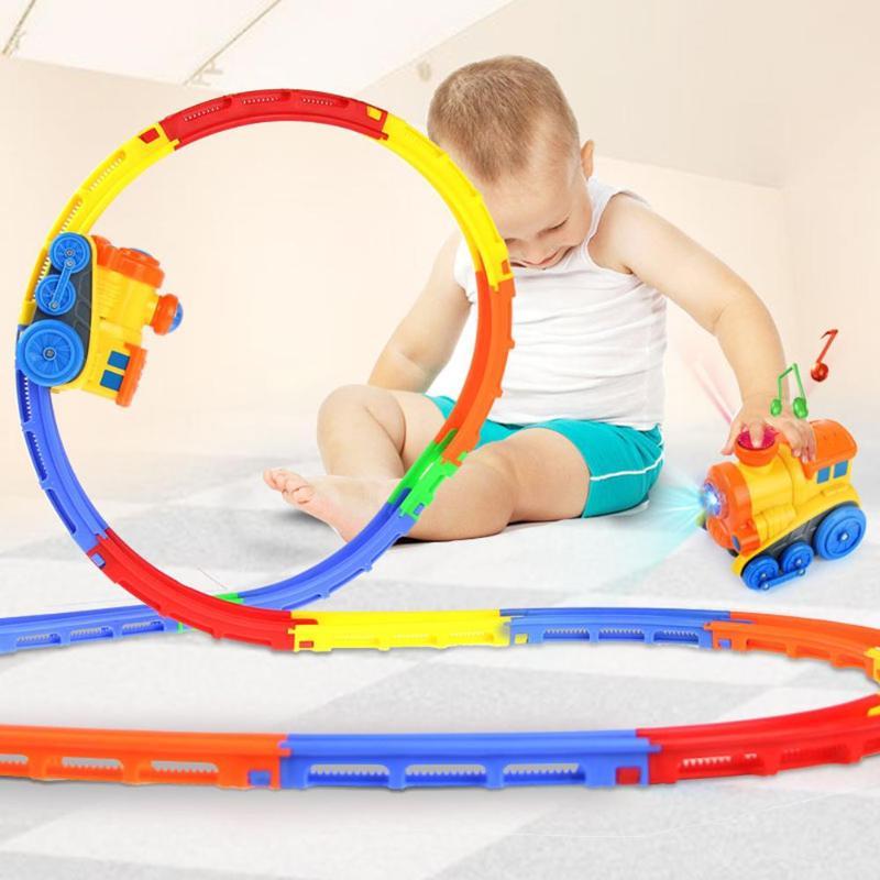 DIY Variety 3D Electric Rail Speed Car Train Model Kids Boys Color Track Racing Car Fun Assemble Toy Birthday Gift Music Light